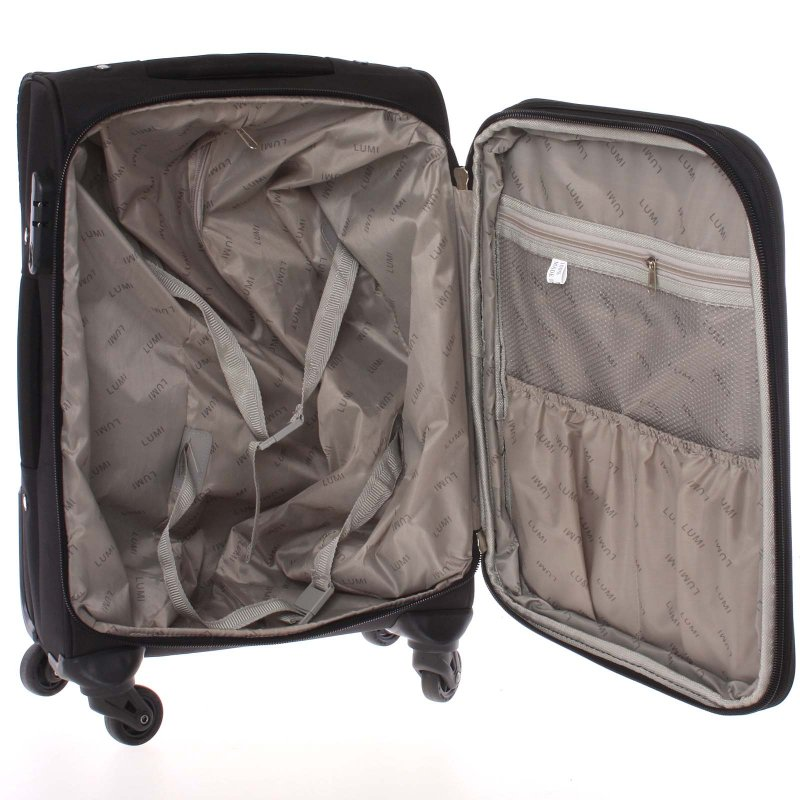 Černý  látkový cestovní kufr vel. I, 4. kolečka