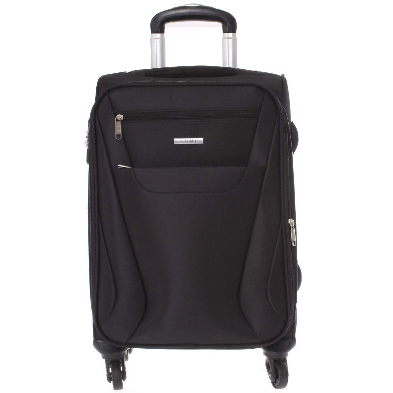 Černý  látkový cestovní kufr vel. II, 4. kolečka