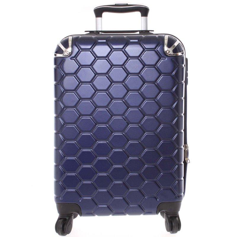 Stylový cestovní kufr imitace včelích plástů vel. 2, 4 kolečka, tmavě modrý