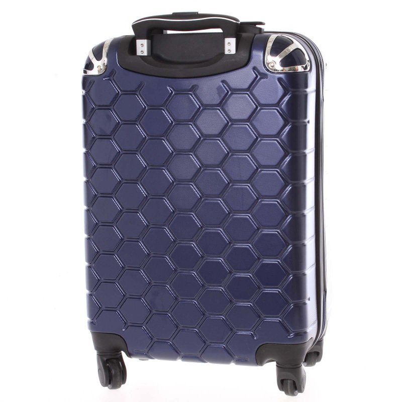 Stylový cestovní kufr imitace včelích plástů vel. 3, 4 kolečka, tmavě modrý