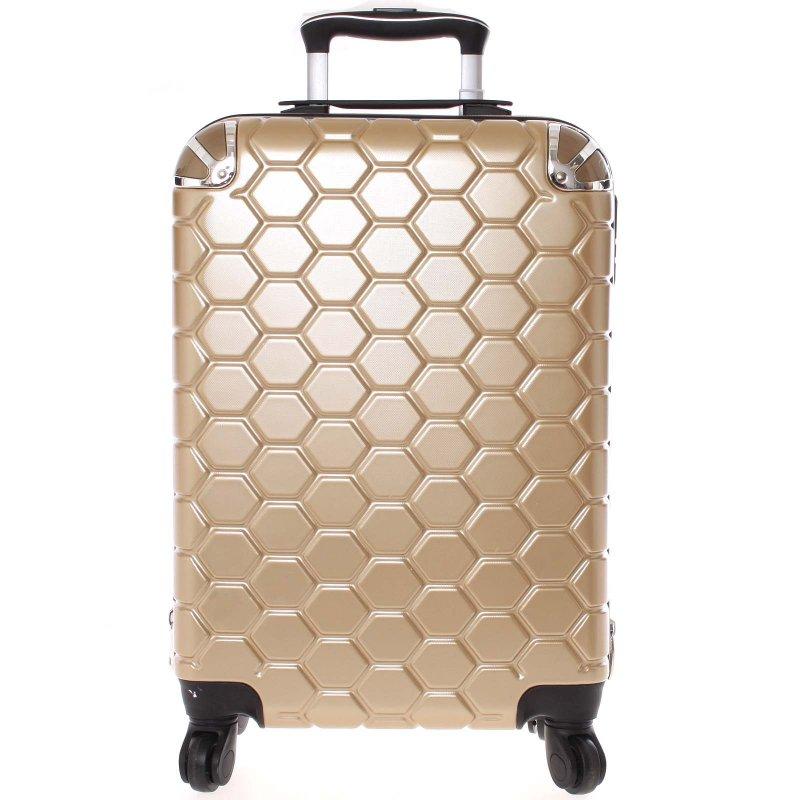 Stylový cestovní kufr imitace včelích plástů vel. 1, 4 kolečka, zlatý