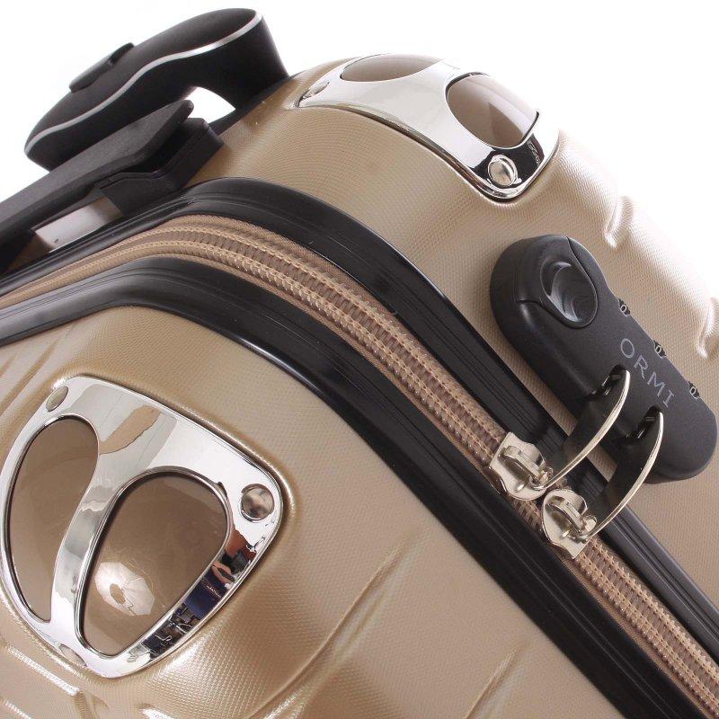 Stylový cestovní kufr imitace včelích plástů vel. 2, 4 kolečka, zlatý