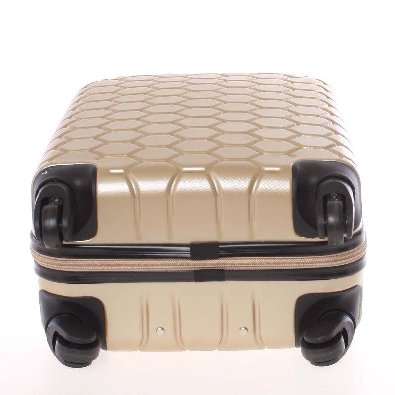 Stylový cestovní kufr imitace včelích plástů vel. 3, 4 kolečka, zlatý