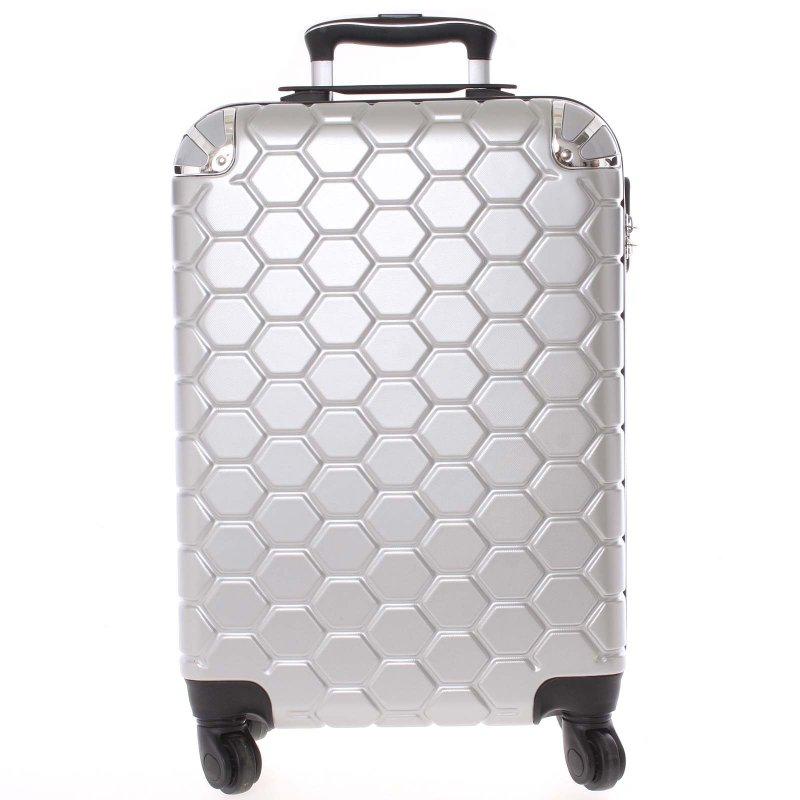 Stylový cestovní kufr imitace včelích plástů vel. 1, 4 kolečka, střbrný