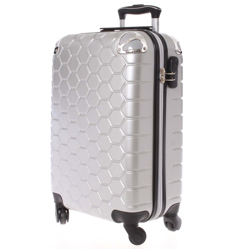 Stylový cestovní kufr imitace včelích plástů vel 2, 4 kolečka, střbrný