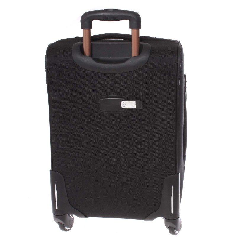 Černý látkový pevný kufr vel. 2, 4. kolečka