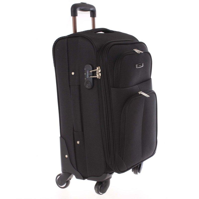 Černý látkový pevný kufr vel. 3, 4. kolečka