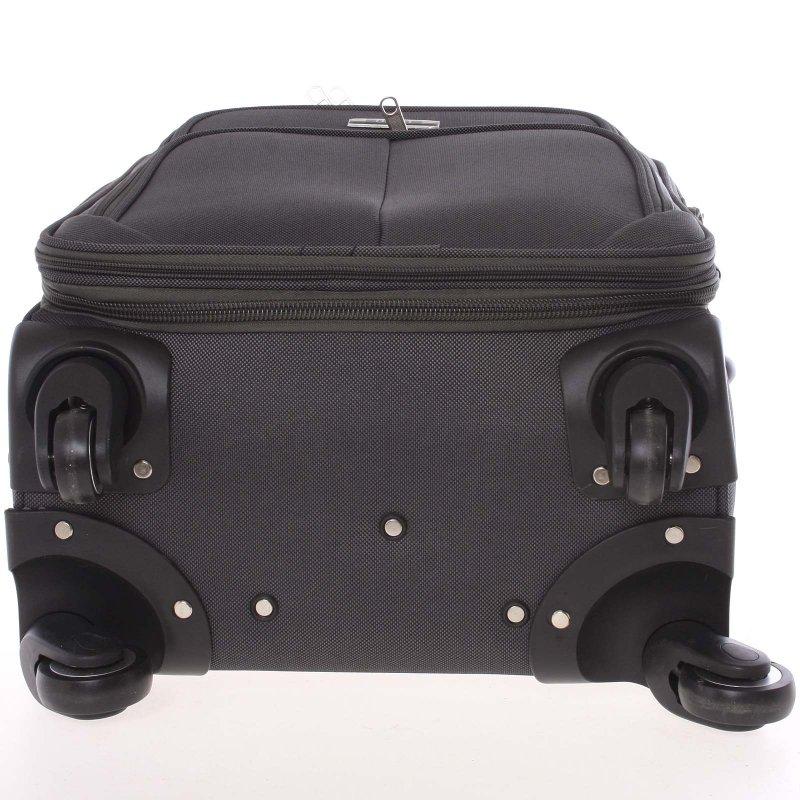 Pevný látkový kufr, šedý 4. kolečka, vel. III