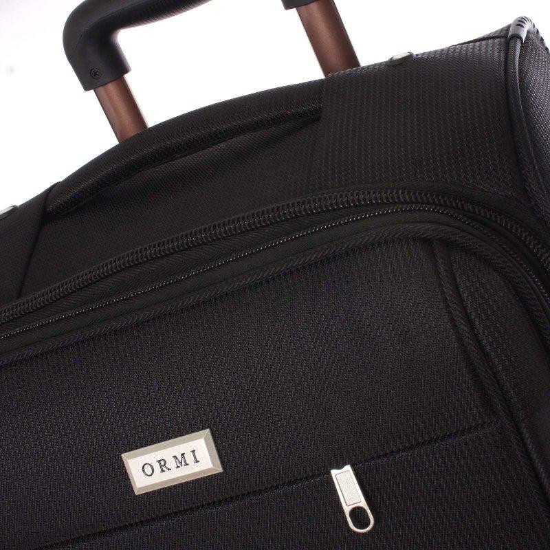 Látkový kufr Ormi černý vel. II, 4. kolečka