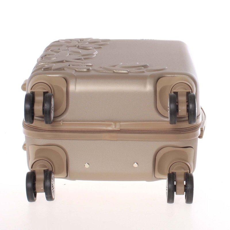Elegantní kufr s potiskem květin, zlatý vel.I, 4.kolečka