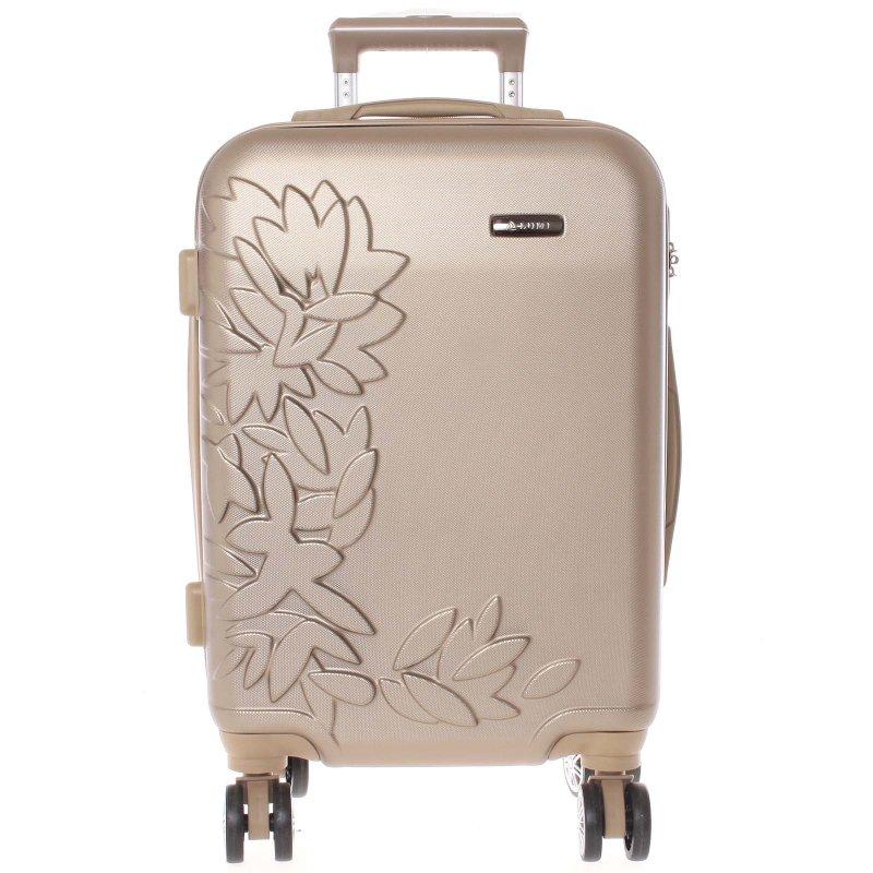 Elegantní kufr s potiskem květin, zlatý vel.II, 4.kolečka