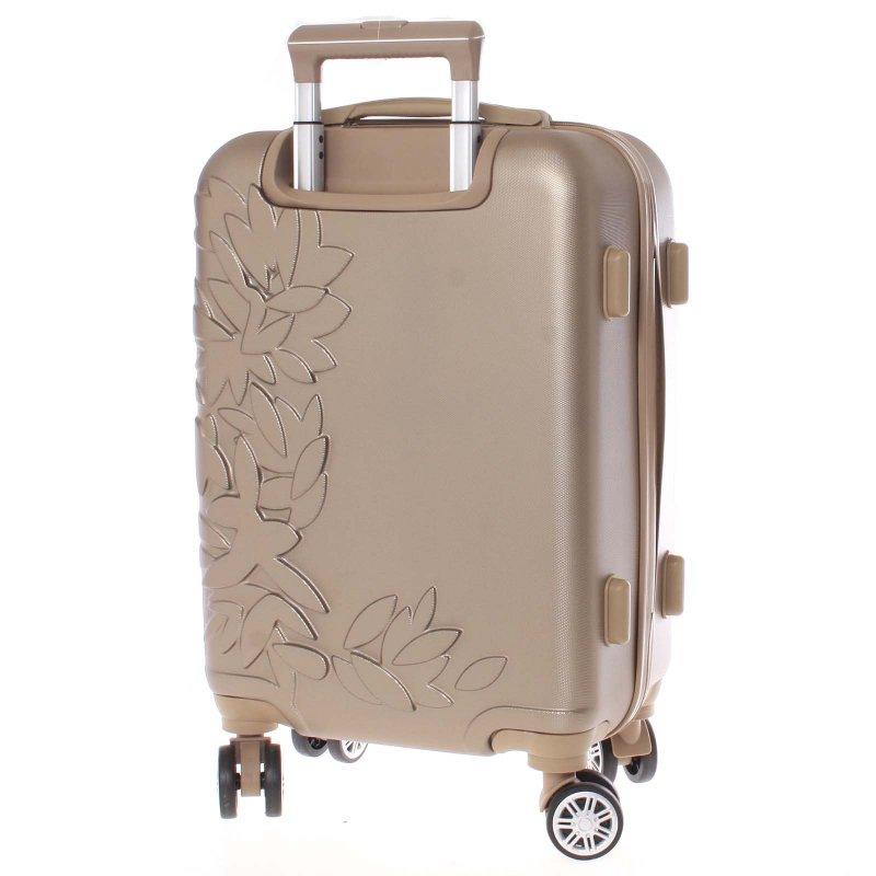 Elegantní kufr s potiskem květin, zlatý vel.III, 4.kolečka