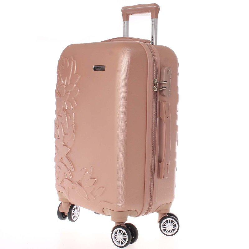 Elegantní kufr s potiskem květin, růžově zlatý vel.III, 4.kolečka