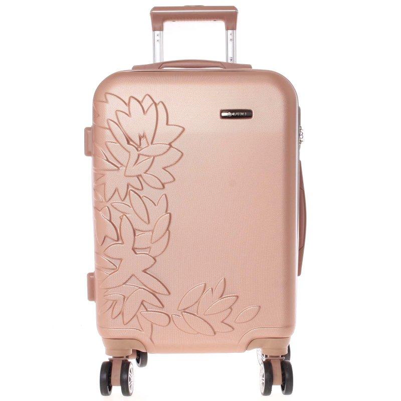 Elegantní kufr s potiskem květin, růžově zlatý vel.VI, 4.kolečka