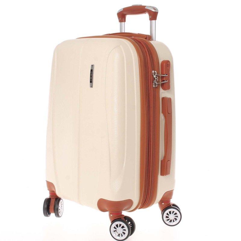 Tmavě béžový cestovní kufr vel. II, 4. kolečka