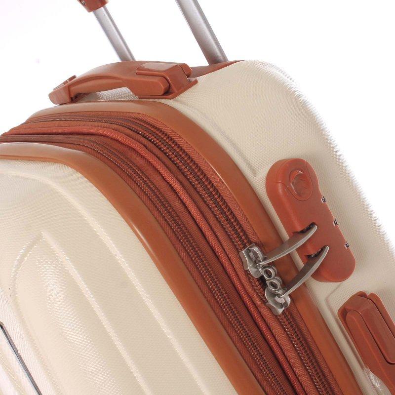 Tmavě béžový cestovní kufr vel. III, 4. kolečka