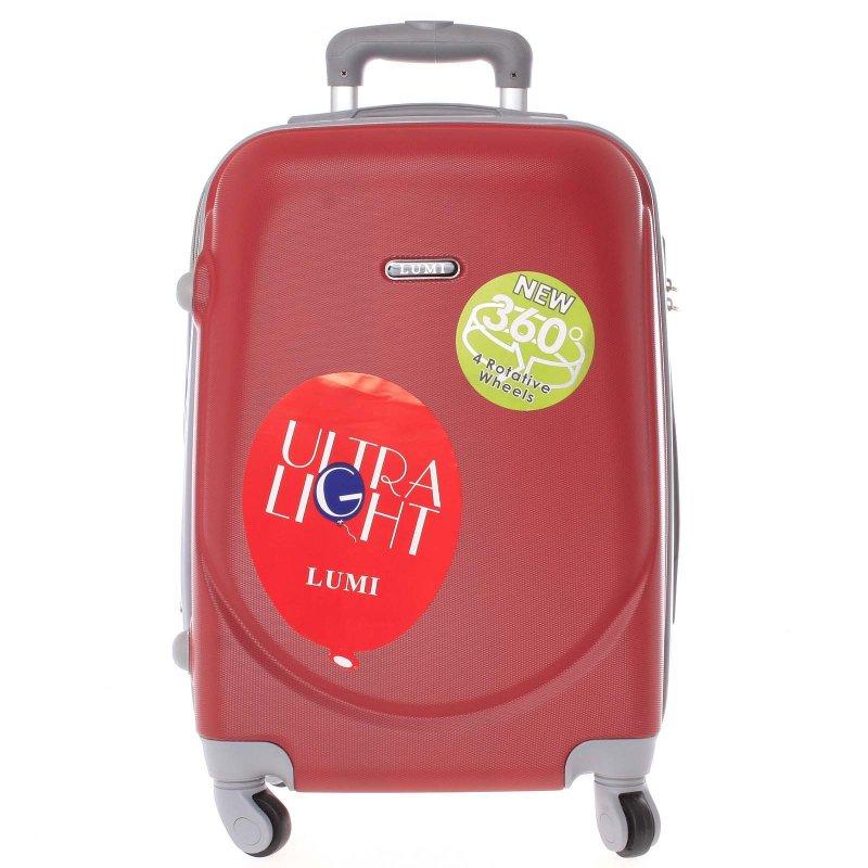 Cestovní kufr skořepinový červený, vel.I, 4.kolečka