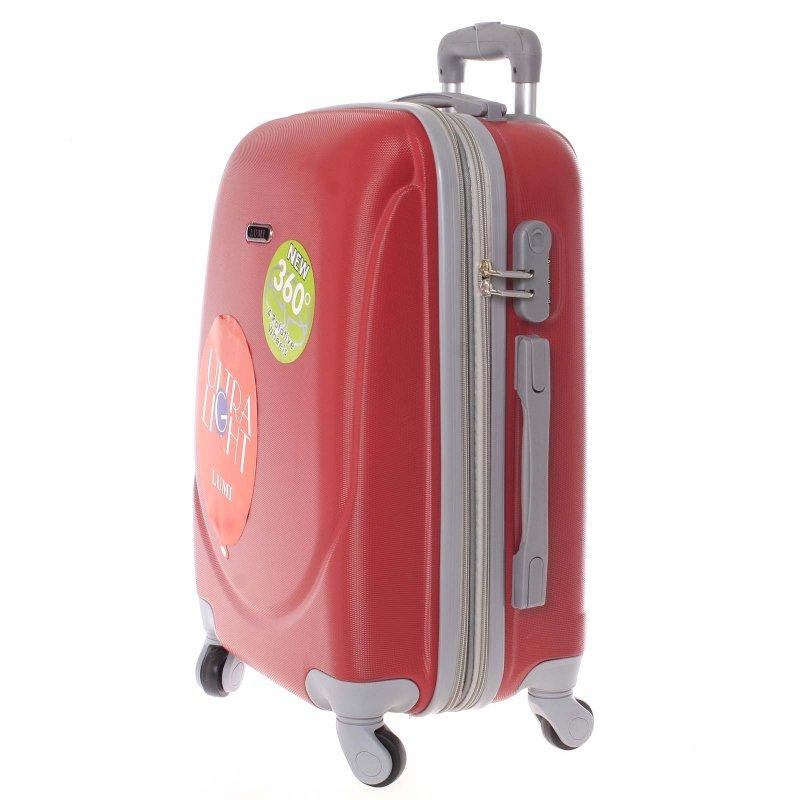 Cestovní kufr skořepinový červený, vel.II, 4.kolečka