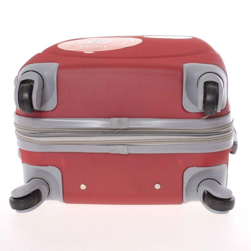 Cestovní kufr skořepinový červený, vel.III, 4.kolečka
