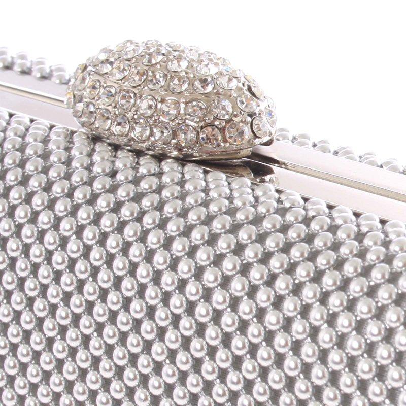 Luxusní dámské psaníčko Charlotte, stříbrné