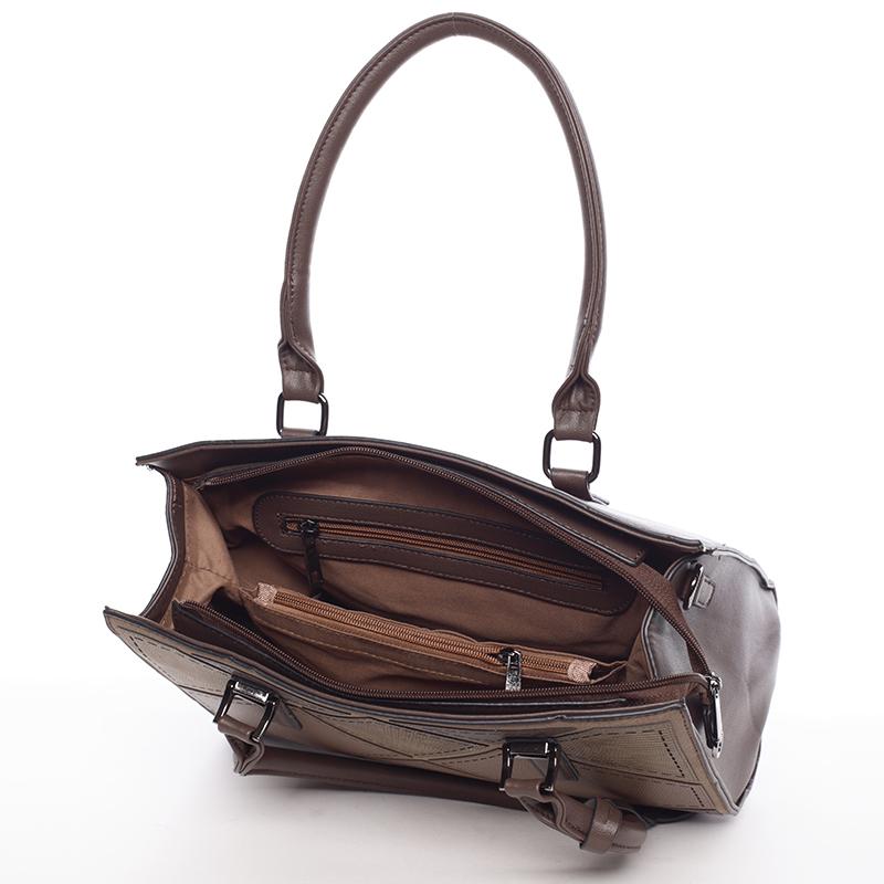 Stylová dámská kabelka do ruky i přes rameno Alexia, hnědá
