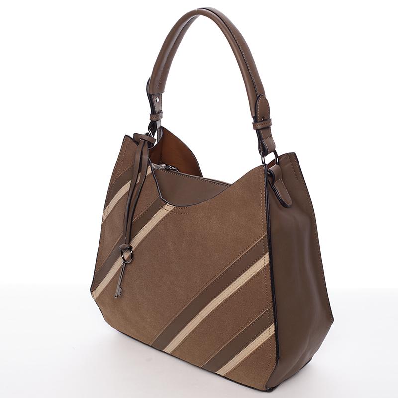 Módní dámská kabelka Mc Antonella, hnědo-zelenkavá