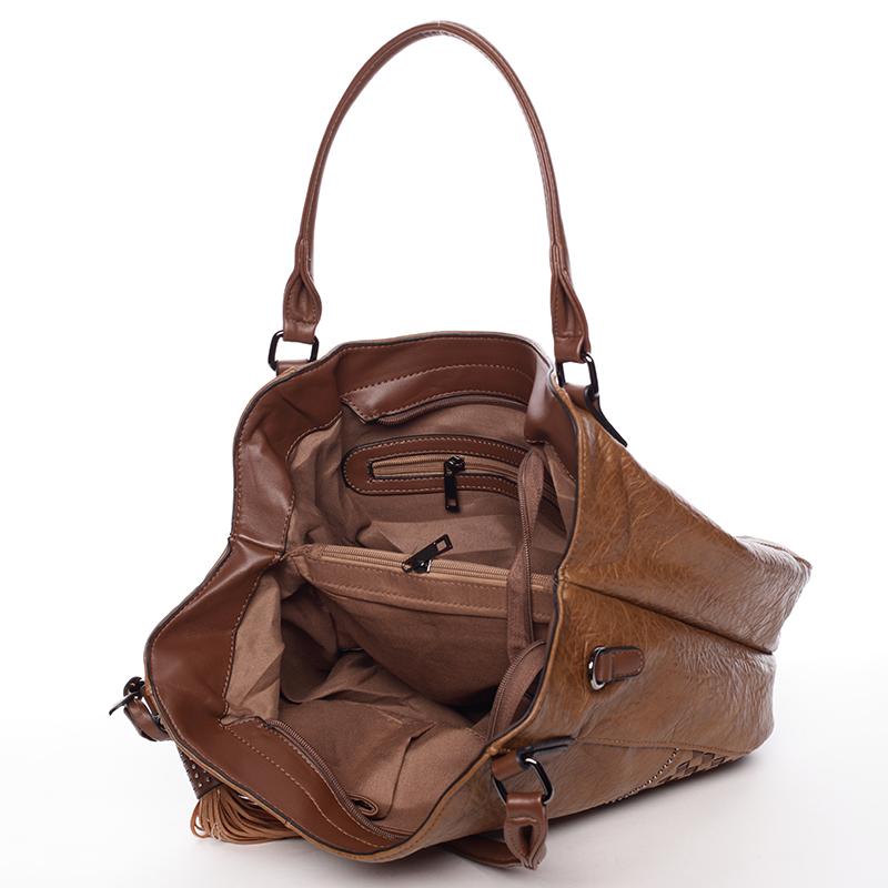 Měkká příjemně poddajná dámská kabelka Dolores, hnědá