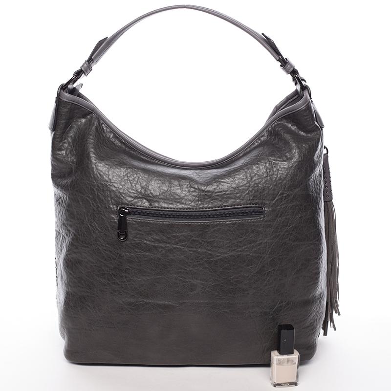 Prostorná dámská měkká kabelka Rebeca, šedá