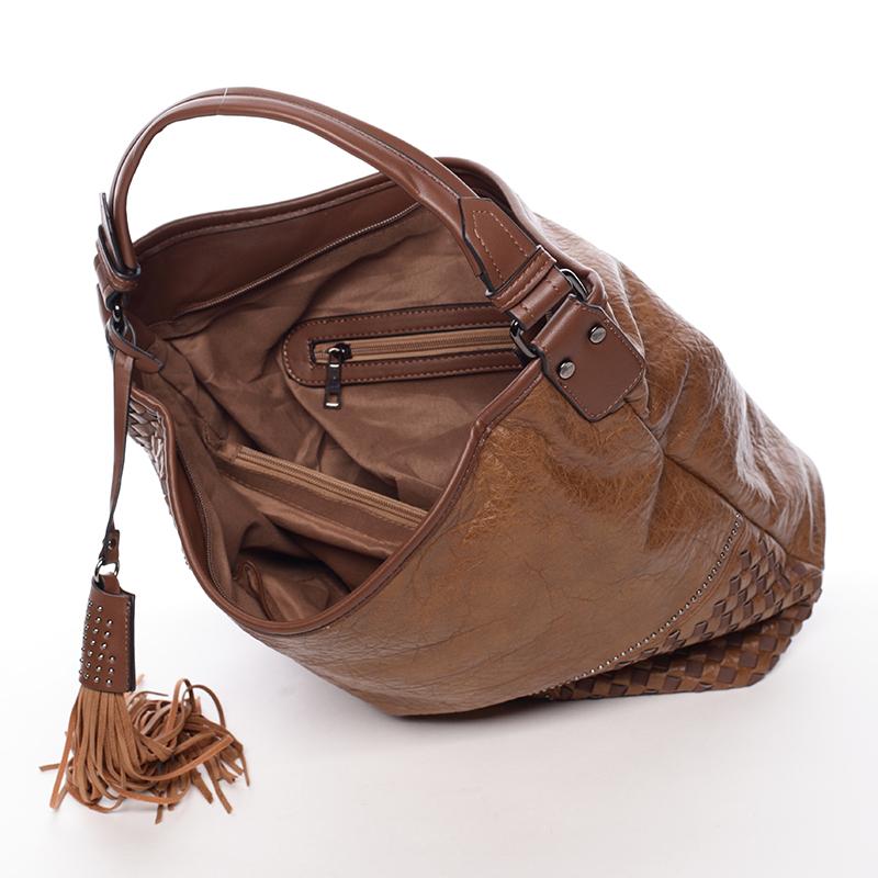 Prostorná dámská měkká kabelka Rebeca, hnědá