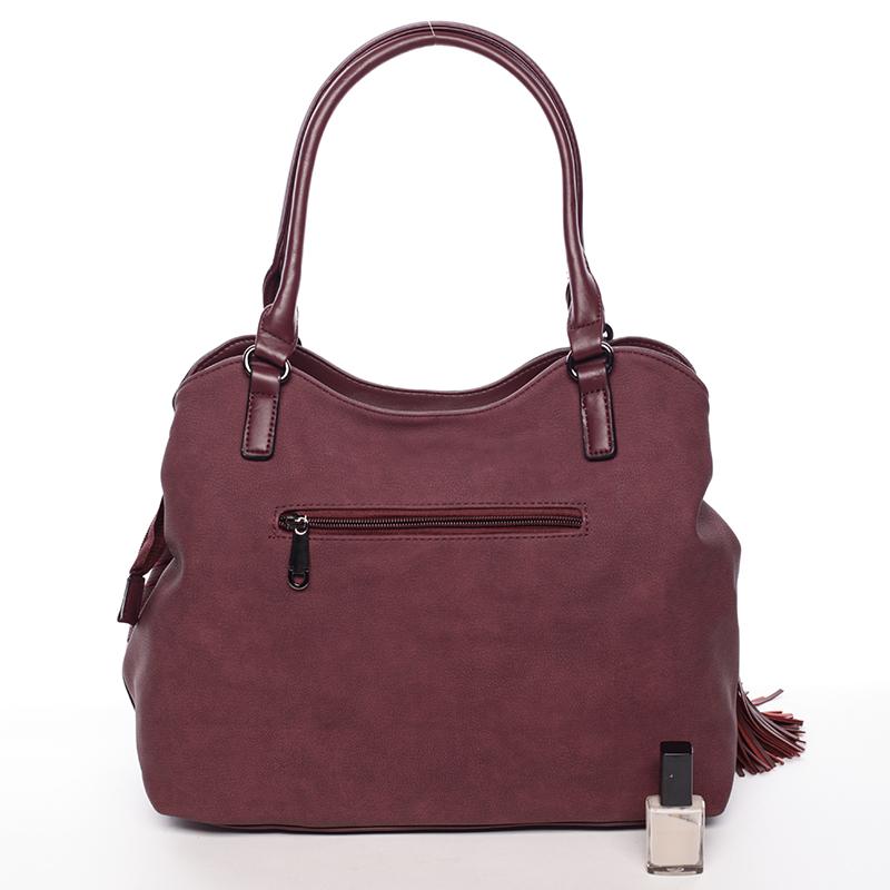 Elegantní kabelka s ozdobným prvkem Fátima, vínově červená