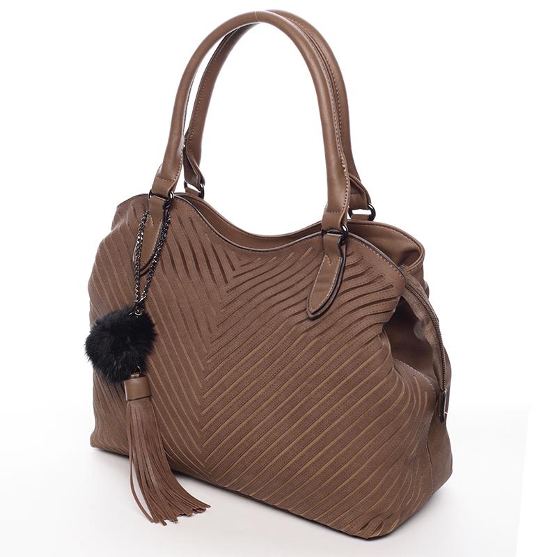 Elegantní kabelka s ozdobným prvkem Fátima, hnědá