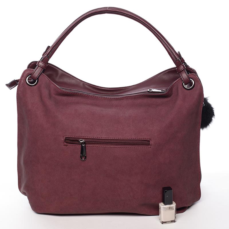 Prostorná dámská kabelka Paola, vínově červená