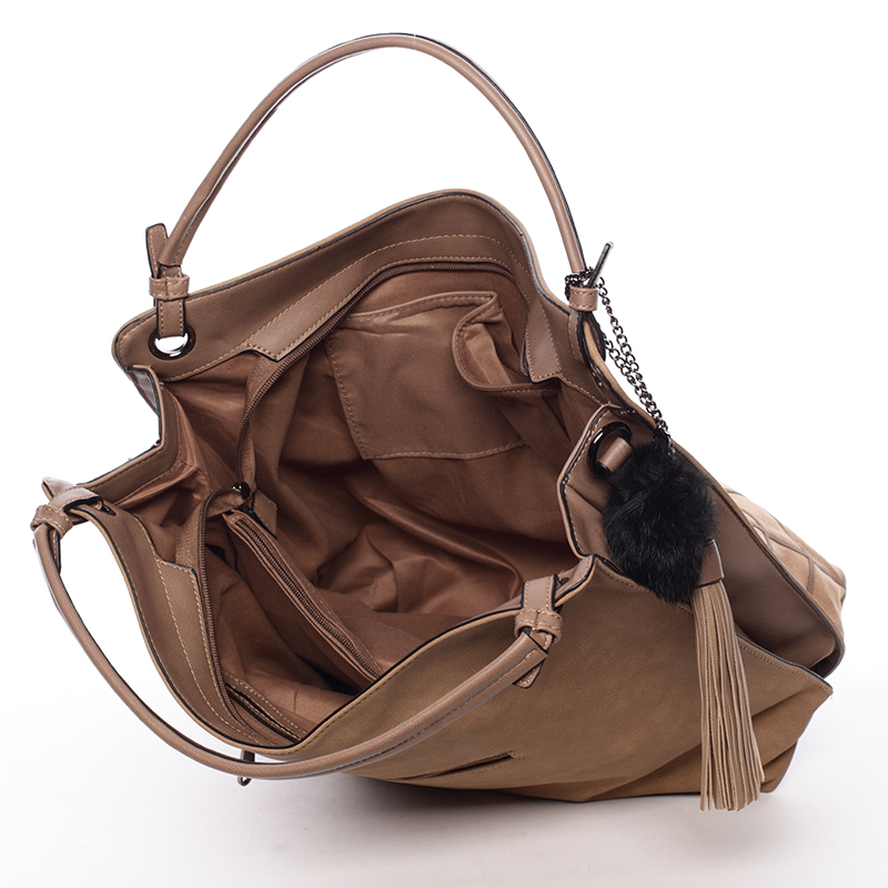 Prostorná dámská kabelka Paola, krémově hnědá