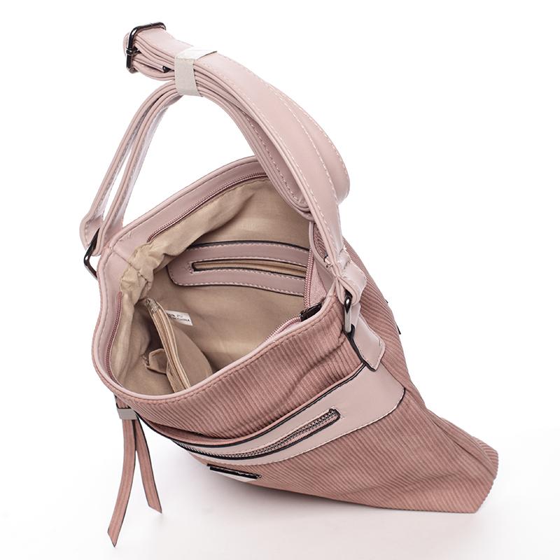 Růžová manšestrová crossbody kabelka Adelaina