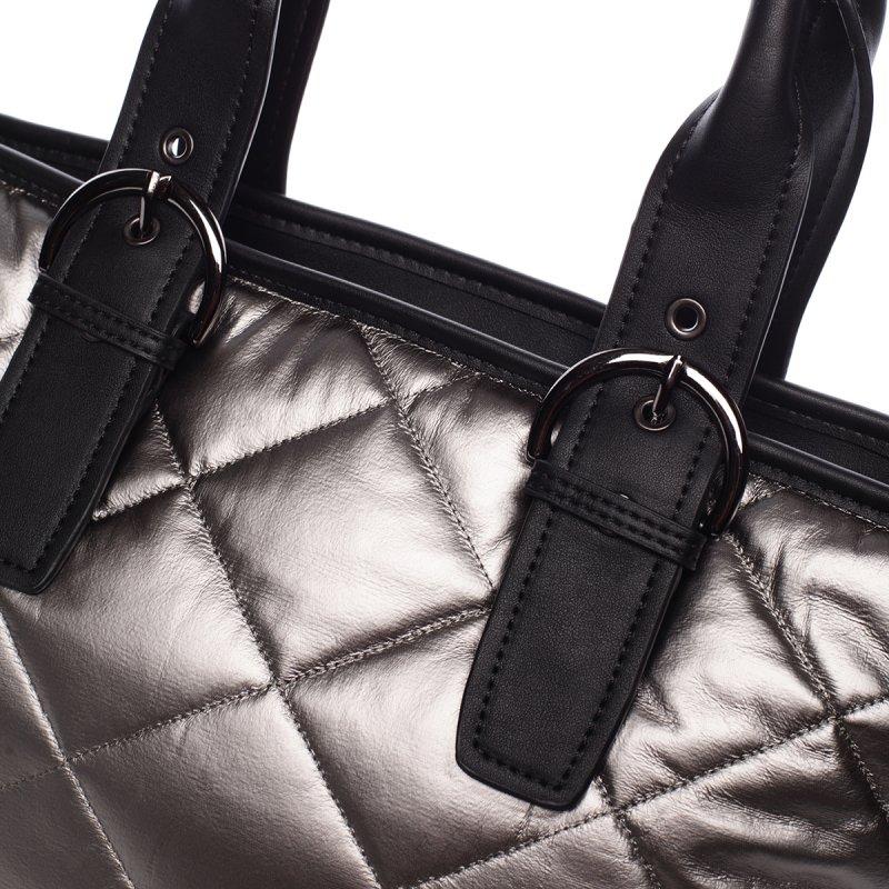 Lesklá dámská kabelka Donatella, stříbrná