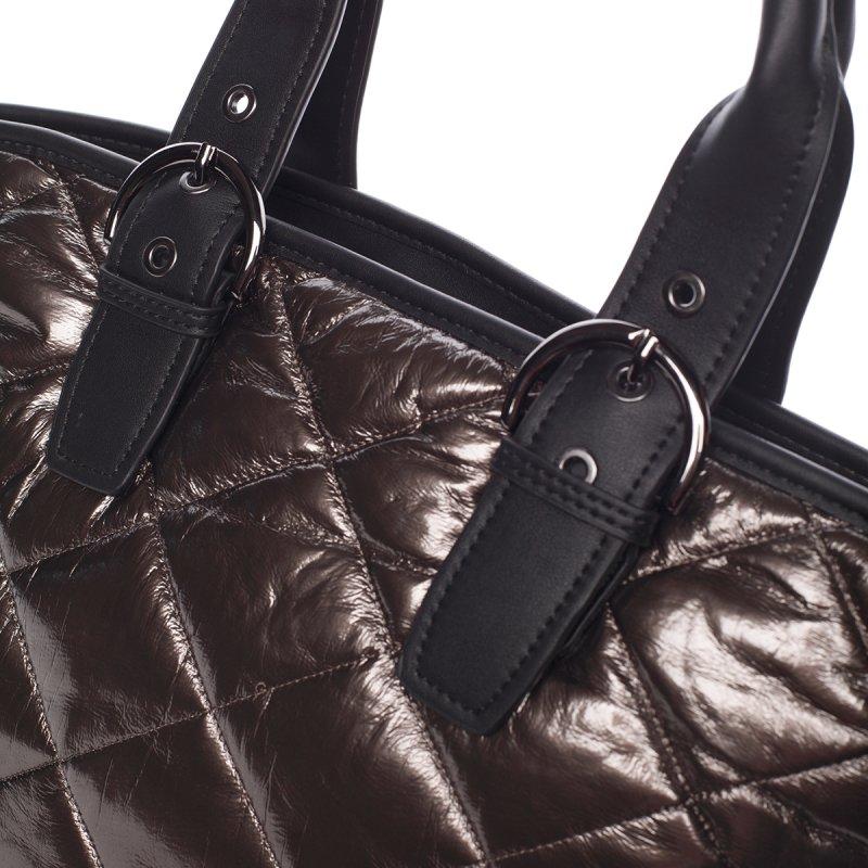 Lesklá dámská kabelka Donatella, zlatá