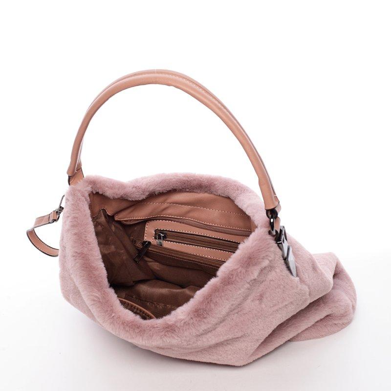 Plyšová dámská kabelka Diana, růžová