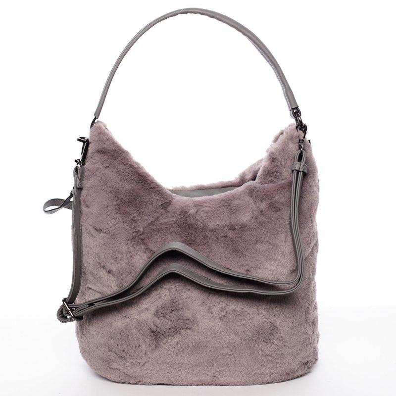 Plyšová dámská kabelka Diana, šedá
