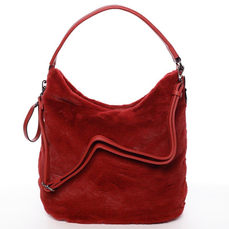 Plyšová dámská kabelka Diana, červená