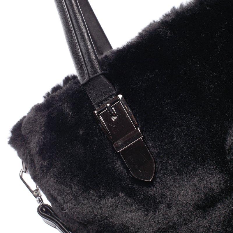 Dámská kabelka Cleopatra s kožíškem, černá