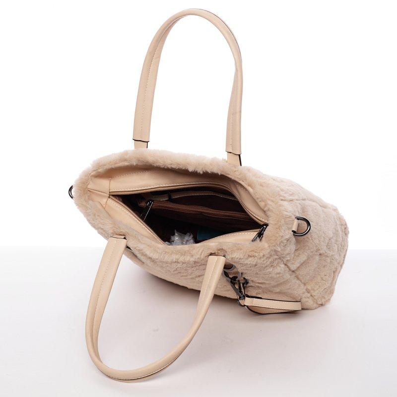 Dámská kabelka Cleopatra s kožíškem, béžová