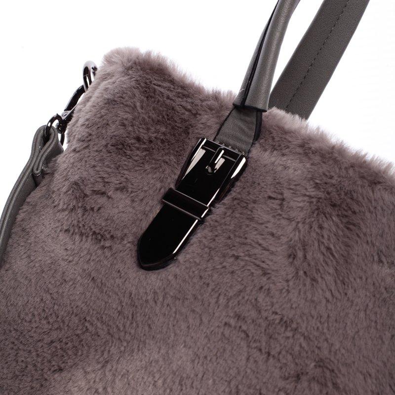Dámská kabelka Cleopatra s kožíškem, šedá