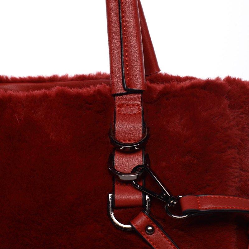 Dámská kabelka Cleopatra s kožíškem, červená