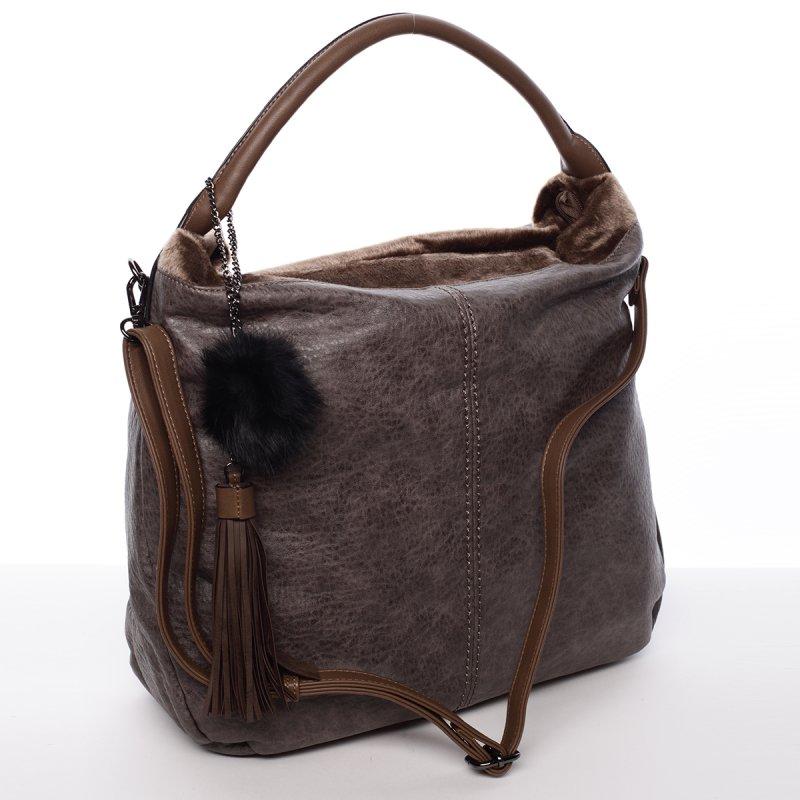 Velká dámská kabelka Samanta, šedá/hnědá