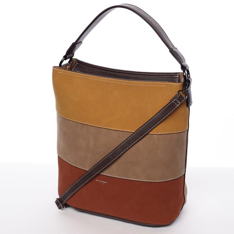 Moderní dámská crossbody kabelka Elodie, hnědá/žlutá