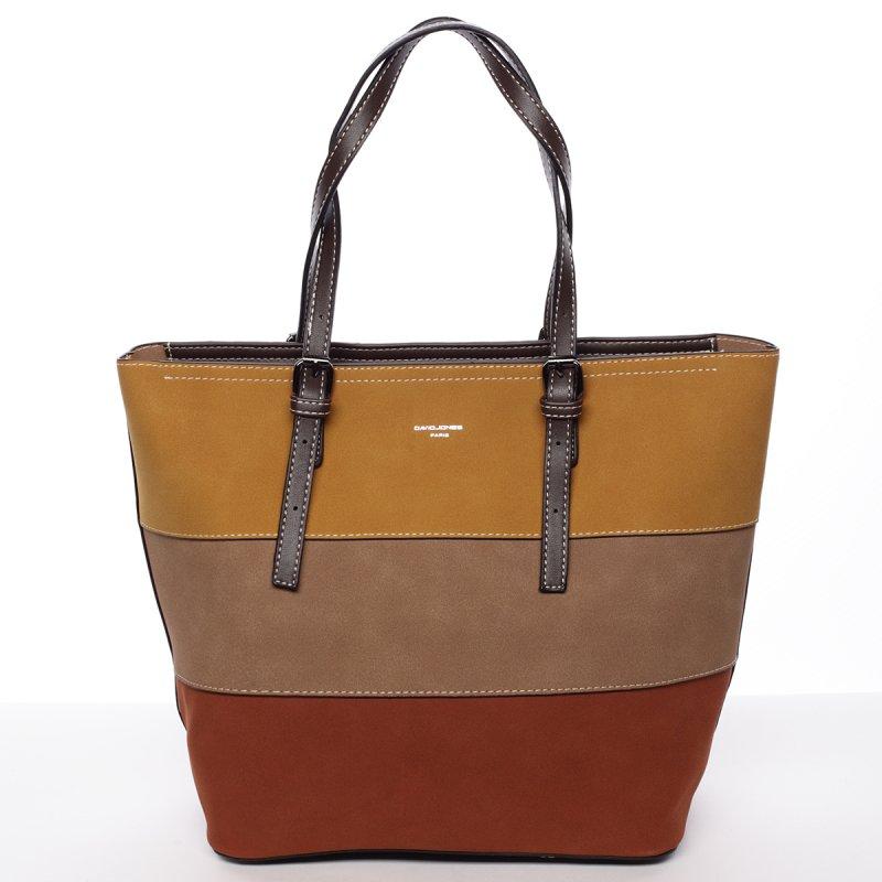 Pevná dámská kabelka Elodie, hnědá/žlutá