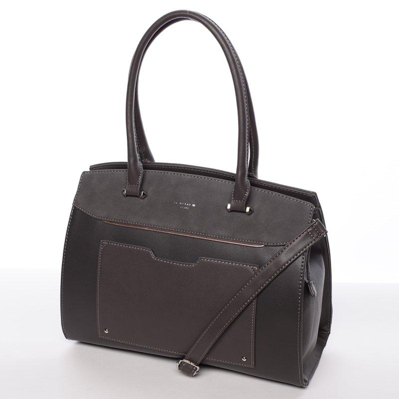 Atraktivní pevná dámská kabelka Michele, tmavě šedá