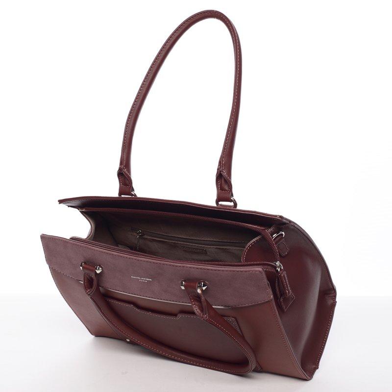 Atraktivní pevná dámská kabelka Michele, vínová