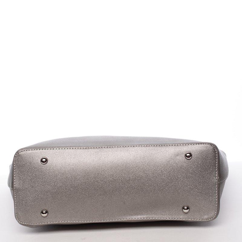 Lehká velká dámská kabelka Angela, stříbrná