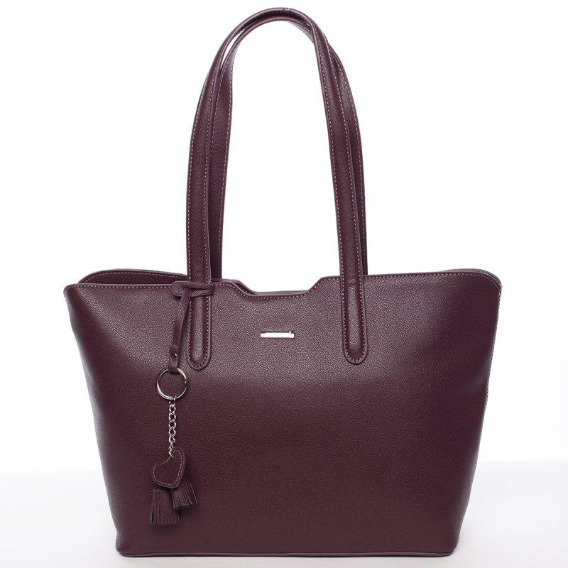 Lehká velká dámská kabelka Angela, tmavě fialová